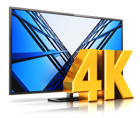 Creative abstract ultra high definition digital television screen technology concept: 3D render illustration of 4K UltraHD resolution TV cinema or computer PC monitor display isolated on white background with reflection effect