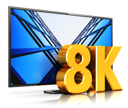 Creative abstract ultra high definition digital television screen technology concept: 3D render illustration of 8K UltraHD resolution TV cinema or computer PC monitor display isolated on white background with reflection effect Stock Photo