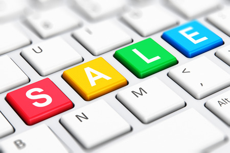 paying: Creative abstract sale and discount offer business shopping commercial concept: 3D render illustration of the macro view of color Sale text word on buttons of white computer PC or laptop notebook keyboard keys with selective focus effect