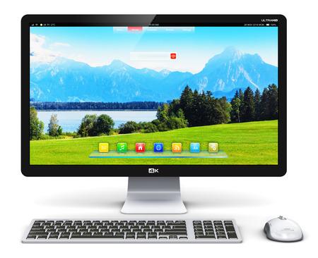 크리 에이 티브 추상 office 비즈니스 기술 통신 인터넷 웹 개념 : 3D 렌더링 현대 전문 데스크톱 컴퓨터 PC 워크 스테이션 화면 또는 모니터 자연 풍경, 키