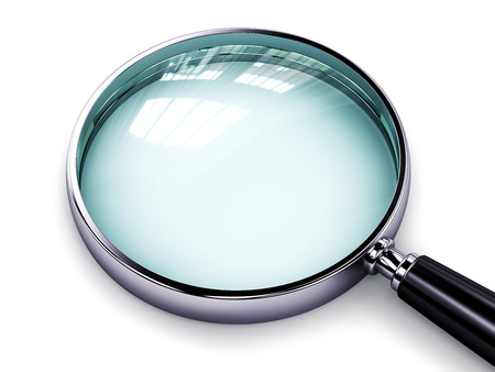 answer: Creative abstract search, seek and find information business office technology internet concept: metal shiny magnifying glass or magnifier isolated on white background