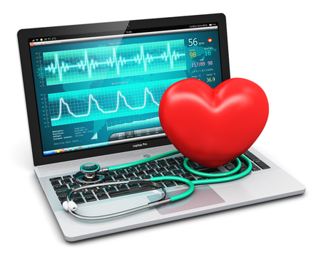 Creative abstract healthcare, medicine and cardiology tool concept: 3D render illustration of laptop or notebook computer PC with medical cardiologic diagnostic test software on screen, stethoscope and red heart shape isolated on white background