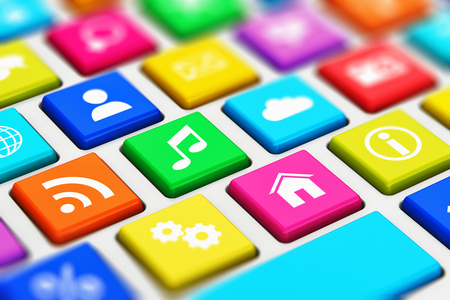 internet buttons: Creative abstract social media network and computer internet web www communication concept: 3D render illustration of the macro view of PC keyboard with color key buttons with social networking icons with selective focus effect