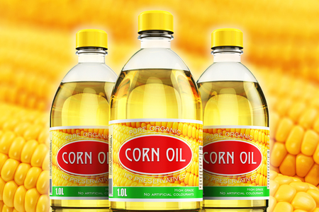 Creative abstract 3D render illustration of the group of three plastic bottles with yellow refined vegetable corn or maize cooking oil or organic fat against macro view of the fresh sweet corn with selective focus effect