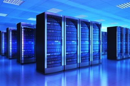 réseau moderne de web et de la technologie de télécommunication Internet, grand stockage de données et le concept service informatique de l'entreprise de cloud computing: rendu 3D illustration de l'intérieur de la salle des serveurs de centre de données à la lumière bleue