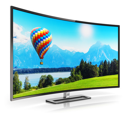 Creative abstract ultra high definition digital television screen technology concept: 3D render illustration of curved OLED 4K UltraHD TV or computer PC monitor display with colorful picture nature landscape isolated on white background with reflection ef Stockfoto