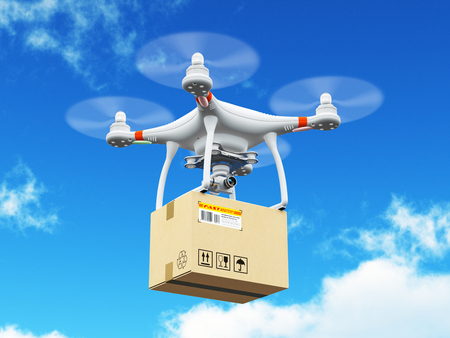 Creative abstract express shipping and logistic commercial business technology concept: 3D render illustration of delivery drone or quadcopter with corrugated cardboard container box flying in the blue sky with clouds