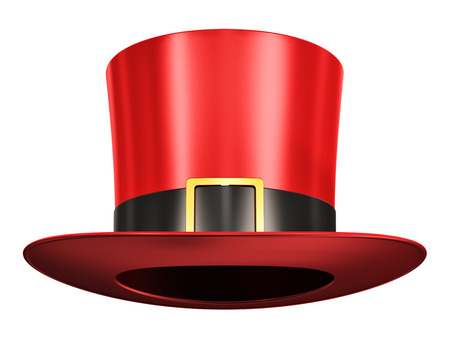 Creative abstract 3D render illustration of the red silk magic hat with black ribbon isolated on white background Stock Photo