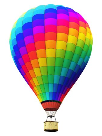 air: Creative abstract colorful travel, tourism aerial transportation and freedom concept: 3D render illustration of color rainbow hot air balloon with gondola basket isolated on white background