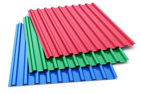 acero: 3D abstracto creativo rinden la ilustración de la pila o grupo de hojas de perfil de acero de metal de color apiladas para techo y techos industria de la construcción aislada en el fondo blanco