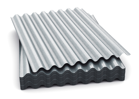 Creative abstract  3D render illustration of the stack or group of stacked metal steel zinc-plated or galvanized wave shaped profile sheets for roof and roofing construction industry isolated on white background