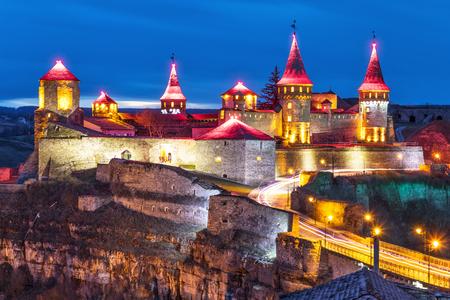 popular: Scenic night view of ancient fortress castle in Kamianets-Podilskyi, Khmelnytskyi Region, Ukraine