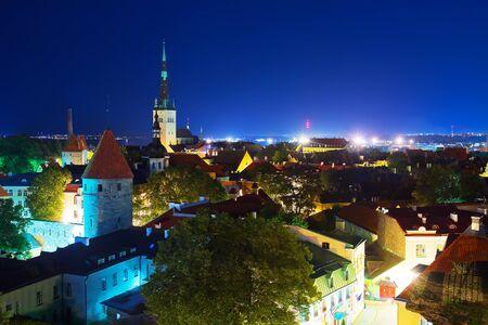 Scenic summer night panorama of the Old Town architecture in Tallinn, Estonia Stock Photo