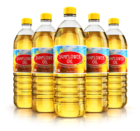 Creative abstract 3D render illustration of the group of five plastic bottles with yellow refined vegetable sunflower cooking oil or organic fat isolated on white background with reflection effect