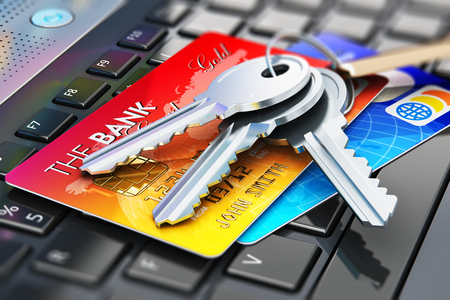 paying: Creative abstract internet banking safety, accounting and online shopping web security business commercial concept: 3D render illustration of macro view of the group of color credit cards and bunch of house home keys on keyring with keychain on laptop or