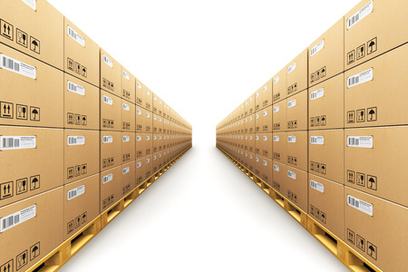 Creative abstract shipment, logistics, delivery and product distribution business industrial commercial concept: 3D render illustration of the storage warehouse with row of stacked cardboard boxes with packed goods on wooden shipping pallets isolated on w