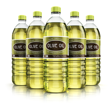 Creative abstract 3D render illustration of the group of five plastic bottles with yellow refined vegetable olive cooking oil or organic fat isolated on white background with reflection effect