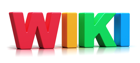 wiki wikipedia: Creative abstract internet encyclopedia, knowledge database learning and online education studying concept Stock Photo