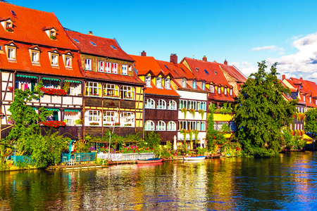 old houses: Scenic summer panorama of the Old Town pier architecture in Bamberg, Bavaria, Germany