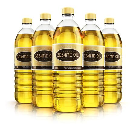ajonjoli: 3D abstracto creativo rinden la ilustración del grupo de cinco botellas de plástico con aceite refinado de semilla de sésamo vegetal o grasa para cocinar amarilla orgánicos aislados en el fondo blanco con efecto de reflexión