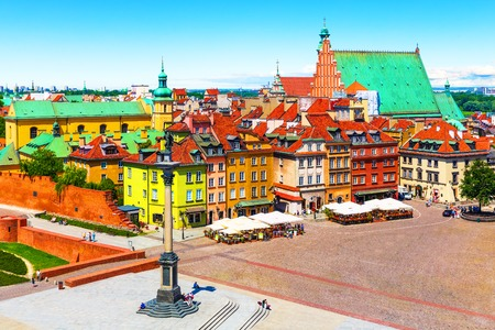 european: Scenic summer view of Castle Square ancient architecture with Sigismund column in the Old Town in Warsaw, Poland Stock Photo