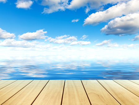 Scenic summer view of beautiful tropical sea water surface, blue sky with clouds and wooden plank table or pier board platform nature landscape background