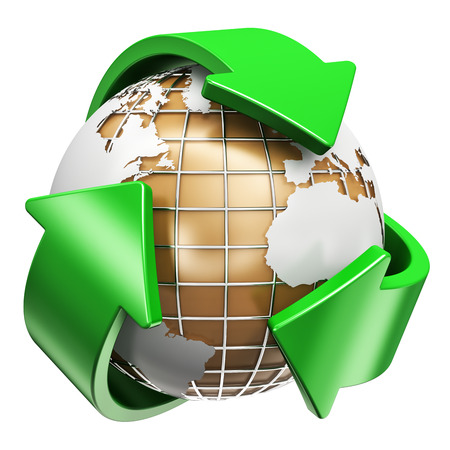 Creative abstract recycling, ecology and environment protection concept: 3D render illustration of corrugated cardboard earth planet world globe map and green arrow signs or symbols logo isolated on white background