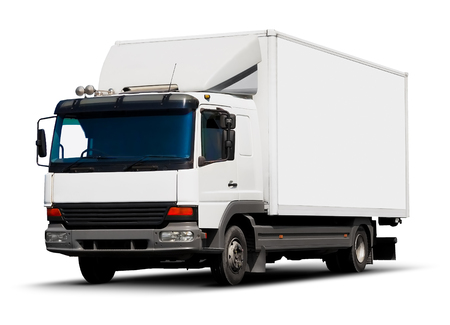 freight transportation: Creative abstract shipping industry, logistics transportation and cargo freight transport industrial business commercial concept: white delivery truck or container auto car trailer isolated on white background