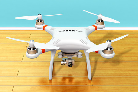 Creative abstract 3D render illustration of professional remote controlled wireless RC quadcopter drone with 4K video and photo camera for aerial photography on wooden laminated plank floor indoors in domestic home room Stock Photo