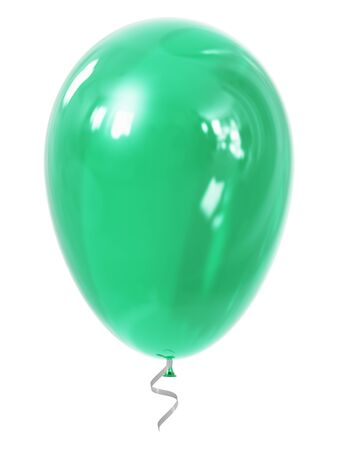 inflatable ball: Creative abstract holiday celebration concept: 3D render illustration of green or turquoise transparent inflatable rubber air balloon or ball isolated on white background