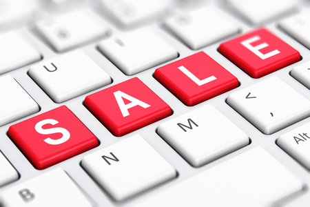 sell online: Creative abstract sale and discount offer business shopping commercial concept: 3D render illustration of the macro view of red color Sale text word on buttons of white computer PC or laptop notebook keyboard keys with selective focus effect Stock Photo