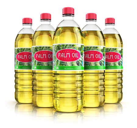 Creative abstract 3D render illustration of the group of five plastic bottles with yellow refined vegetable palm cooking oil or organic fat isolated on white background with reflection effect Foto de archivo
