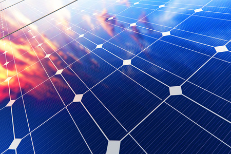 Creative abstract solar power generation technology, alternative energy and environment protection ecology business concept: 3D render illustration of the group of solar battery panel modules against scenic sunset with blue sky with sun light