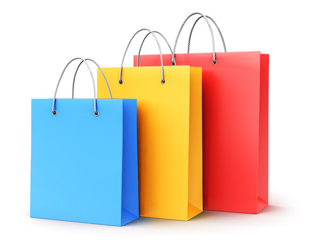 Creative abstract commercial business retail sale and online shopping concept: 3D render illustration of the group of color paper shopping bags isolated on white background Stock Photo