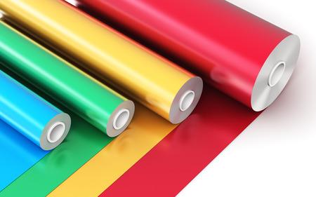 3D abstracto creativo ilustración de procesamiento de los rollos de PVC color cinta de plástico de polietileno o papel de aluminio aislados en el fondo blanco