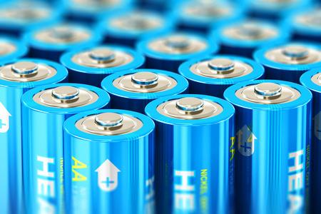 3D abstracto creativo rinde la ilustración de la visión de la macro del grupo de baterías de células alcalinas de tamaño AA de 1,5 voltios AA o acumuladores recargables con efecto de enfoque selectivo