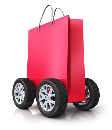 customer: Creative abstract commercial business retail sale and online shopping discount offer and free shipping and delivery concept: 3D render illustration of red paper shopping bag with car wheels isolated on white background with reflection effect