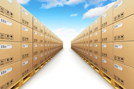 Creatief abstract transport, logistiek, levering en distributie van de producten bedrijf industriële commercieel concept: 3D illustratie van de opslagplaats met rij van gestapelde kartonnen dozen te maken met verpakte goederen op houten pallets scheepvaart die op w