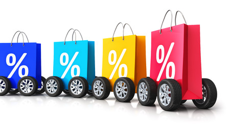 pricing: Creative abstract commercial business retail sale and online shopping discount offer and free shipping and delivery concept: 3D render illustration of train from the group of color paper shopping bags with percent text signs or symbols and car wheels isol
