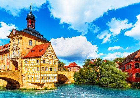 Scenic summer view of the Old Town architecture with City Hall building in Bamberg, Germany