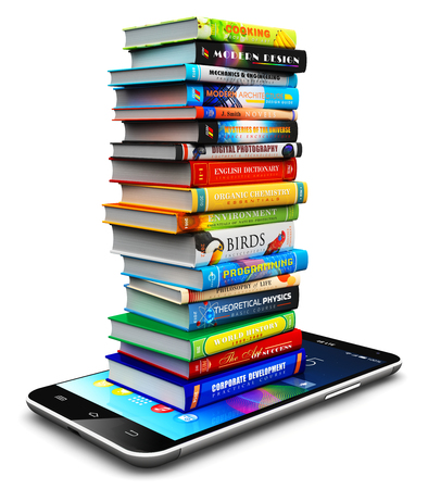 book: Creative abstract knowledge, education and e-learning internet web business communication concept: 3D render illustration of smartphone or mobile phone and stack or pile of color hardcover books isolated on white background