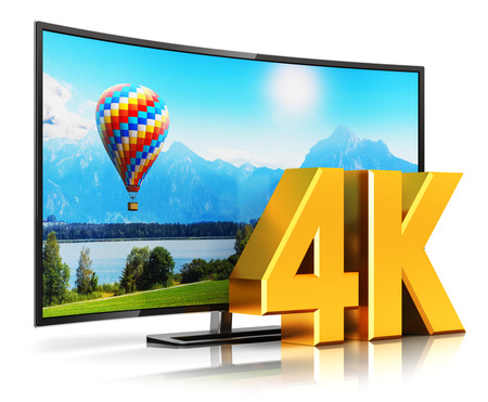 Creative abstract ultra high definition digital television screen technology concept: 3D render illustration of curved 4K UltraHD resolution TV cinema or computer PC monitor display isolated on white background with reflection effect
