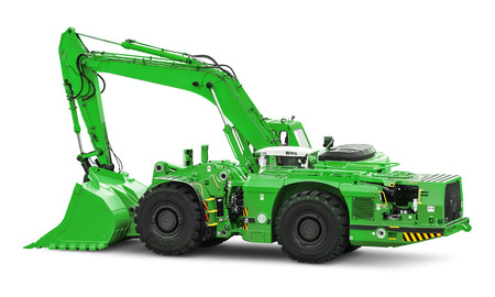 Creative abstract building, roadworks and construction industry equipment concept: big heavy green industrial hydraulic wheel excavator or bulldozer isolated on white background