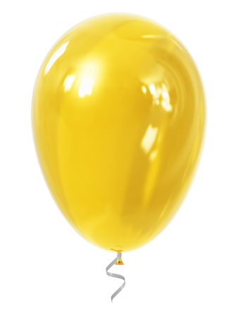 shiny: Creative abstract holiday celebration concept: 3D render illustration of yellow shiny transparent inflatable rubber air balloon or ball isolated on white background Stock Photo
