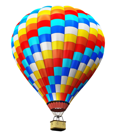 Creative abstract colorful travel, tourism aerial transportation and freedom concept: 3D render illustration of color hot air balloon with gondola basket isolated on white background