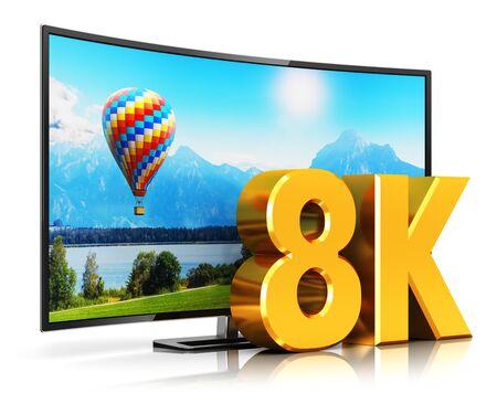 abstraite ultra haute définition concept de la technologie de l'écran de télévision numérique Creative: rendu 3D illustration de courbe 8K UltraHD affichage cinéma résolution de la télévision ou l'ordinateur PC moniteur isolé sur fond blanc avec effet de réflexion Banque d'images