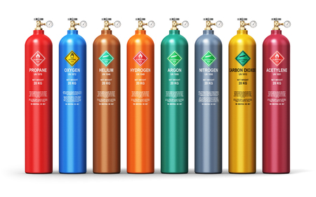 Concept d'entreprise de fabrication de carburant abstrait industrie créative: illustration de rendu 3D de l'ensemble des contenants en acier métal couleur ou cylindres avec différents gaz liquéfiés comprimés liquéfié GNL ou GPL avec des compteurs de haute pression manomètre et vannes isolées Banque d'images - 74431433
