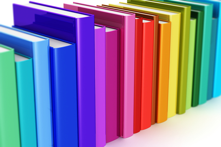 Creative abstract science, knowledge, education, back to school, business and corporate office life concept: 3D render illustration of the macro view of rainbow color hardcover books isolated on white background with selective focus effect
