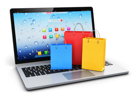 notebook paper background: Creative abstract commercial internet business retail sale and web online shopping discount offer concept: 3D render illustration of the group of color paper shopping bags on modern laptop or notebook computer PC keyboard isolated on white background