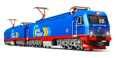 white background: Creative abstract rail freight and cargo shipping logistics industry business concept: 3D render illustration of modern blue heavy freight electric locomotive isolated on white background Stock Photo